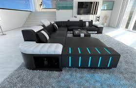 sofa schwarz xxl sectional sofa bellagio led u shaped black white ebay
