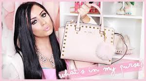 light pink michael kors handbag what s in my bag 2015 michael kors selma studded saffiano