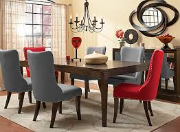 Raymour And Flanigan Dining Room Glamour 7 Pc Dining Set W Gray And Red Chairs Espresso Gray