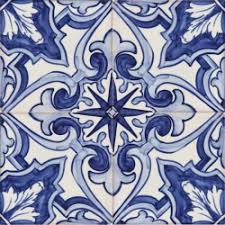 Blue Ceramic Floor Tile 2154 Portuguese Hand Painted Fine Ceramic Tiles Azulejos Blue
