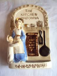 vintage kitchen madonna porcelain wall plaque religious mary