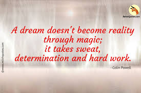 determination quote pics a dream doesn u0027t become reality through magic it takes sweat