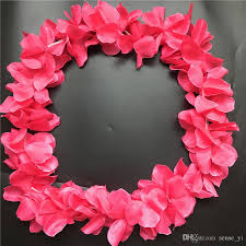 flower leis pink hawaiian leis jumbo necklaces festive party garland silk