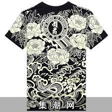 flower brm male short sleeve t shirt lotus lion tattoo japan 2015