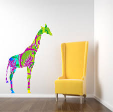 kids decor giraffe wall decal in tropical colors on luulla