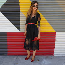 black lace dress of the day in style
