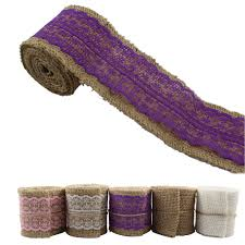 burlap and lace ribbon wide purple chevron burlap ribbon by the yard 6 wide burlap wired