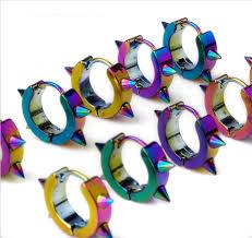 surgical steel earrings spike surgical steel anodized rainbow huggie earrings hoop