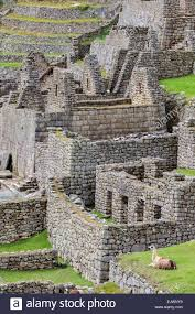 peru machu picchu inca stonework remains houses in stock