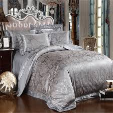 Jacquard Bedding Sets Silver Grey Satin Silk Jacquard Bedding Set Comforterquilt Bed