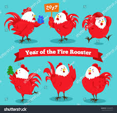 2017 chinese zodiac sign set cartoon chinese zodiac fire rooster stock vector 534289075