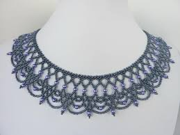 lace necklace patterns images Free beading pattern for an elegant beaded lace necklace made from jpg