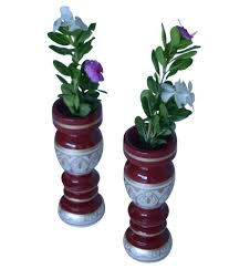 hastakala bazaar vase pair wooden flower home decor gift item