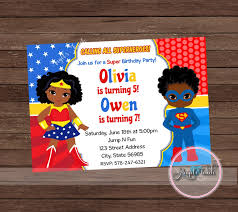 Invitation Card Superman Wonder Woman And Superman Party Invitation Wonder Woman And