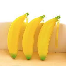 Dstockage Papeterie Nouveauté Jaune Banane Silicone Crayon Cas De Stockage De