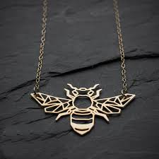 aliexpress pendant necklace images Niandi geometric bee necklace origami gold bee necklace honey bee jpg