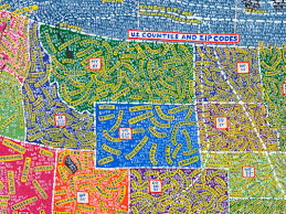Zip Code Map Colorado by Designer Paula Scher Makes Beautifully Skewed Hand Painted Maps Of