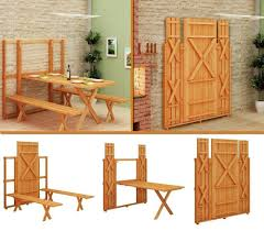 Hammer Wooden Picnic Tables And Outdoor Serving Tables Discover by Save Space Using The Fold Up Picnic Table And Bench Diy Find