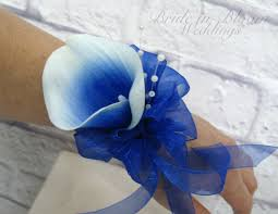 blue corsages for prom picasso royal blue calla wrist corsage pearl wristlet