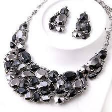 black rhinestone necklace images Chunky jet black hematite crystal rhinestone statement bib jpg