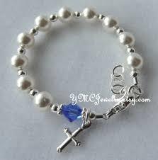 baptism rosary sterling silver rosary pearl bracelet cross bracelet