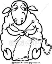 vector illustration knitting sheep coloring stock clip art