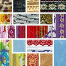 fabric ribbons patchwork collage of colorful pieces of fabric ribbons and lace