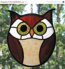sale stained glass owl brown suncatcher ornament black mosaic