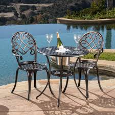 Aluminum Bistro Table And Chairs Angeles Cast Aluminum Outdoor Bistro Furniture Set With