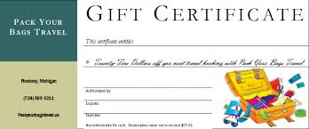 travel gift certificates pack your bags travel tours inc gift certificates
