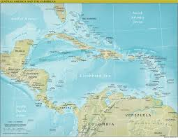 central america physical map the world factbook