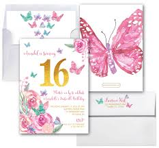 butterfly sixteenth birthday invitation butterflies sweet