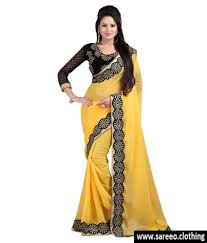 women chiffon yellow colour lace broder workdesigner saree