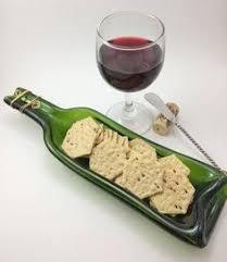 flattened wine bottle platter recycled wine bottle slumped wine bottle cheese tray melted wine