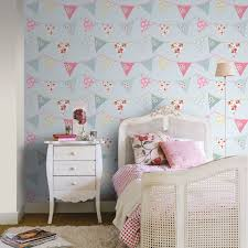 Blue And White Bedroom Wallpaper Bunting Wallpaper Blue Pink Pastel Floral Design Washable Girls