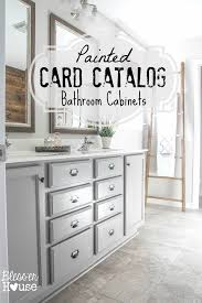 master bathroom makeover painted card catalog cabinets bless u0027er