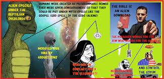 Jew Meme - alien reptile and cloaked figure in yair netanyahu s meme have old