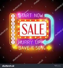 retro neon sale banner shining retro stock vector 332526461