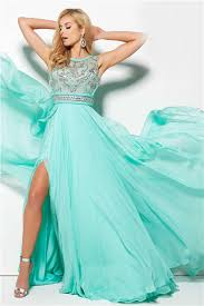 high slit open back long mint green chiffon flowing prom dress