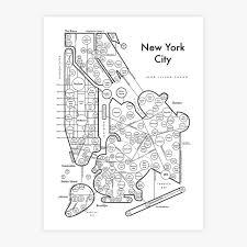 New York City New York Map by New York City Map Print U2014 Archie U0027s Press