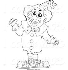 vector coloring page of a black and white circus clown holding a