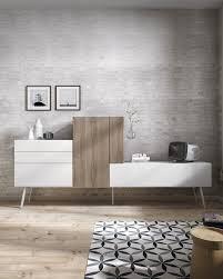 cuisine tv fr meuble tv mural bello atylia matière mélamine couleur blanc bois