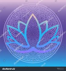 Purple Shades by Stylized Lotus Flower Logo Shades Blue Stock Vector 694374190