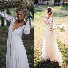 2016 gorgeous empire waist lace chiffon wedding dresses cheap high