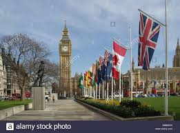 Commonwealth Flags London Parliament Square Springtime View Of British Commonwealth