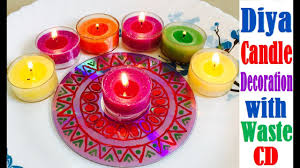 diy diwali diya candle decoration with waste cd deepawali
