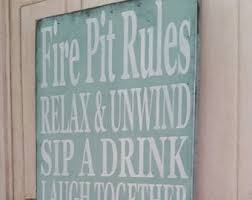 Fire Pit Signs by The Original Porch Rules Custom Primtive Rustic Vintage Style