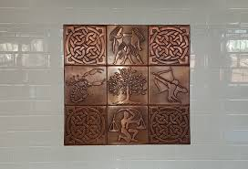 kitchen backsplash made of copper my copper craft wall mural tiles including pieces from our celtic tiles collection zodiac signs collection and tree of life