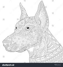 coloring page doberman pinscher dog symbol stock vector 458065450