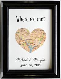 monogrammed anniversary gifts personalized map location place of where we met by printsinspired
